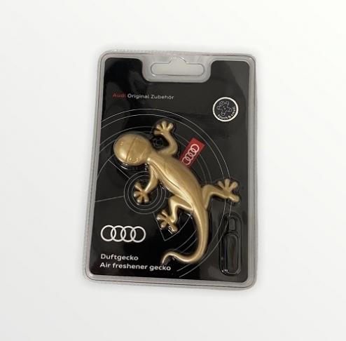 Audi Original Lufterfrischer, Duftgecko in Goldoptik, aromatisch-zimtig