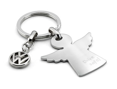 """VW Schlüsselanhänger, Schutzengel mit """"Drive safe!"""" Druck, Silber"""
