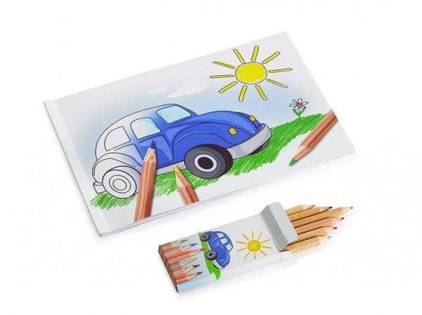 VW Käfer Kinder Malbuch 24 Seiten mit 6 Buntstiften