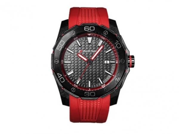 Audi Sport Uhr, schwarz/rot