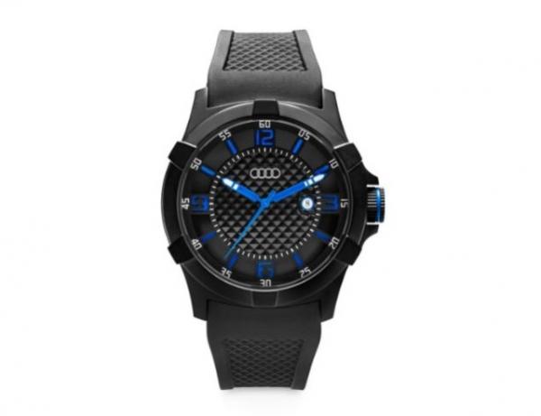 Audi Uhr, blau/schwarz