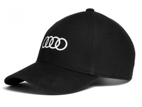 Audi Baseballkappe, schwarz mit weißen Audi Ringen