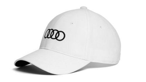 Audi Baseballkappe, weiß mit schwarzen Audi Ringen