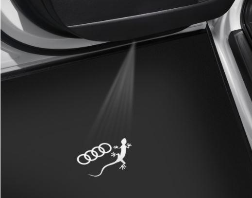 """Audi Original LED Projektor """"Audi Ringe mit Gecko"""" Einstiegsbeleuchtung mit schmalem Stecker"""