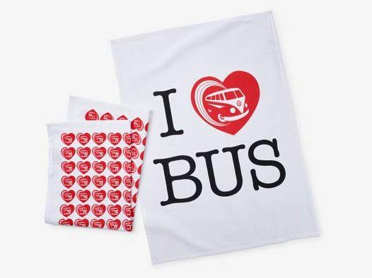 VW Geschirrhandtuch-Set *I love Bus*