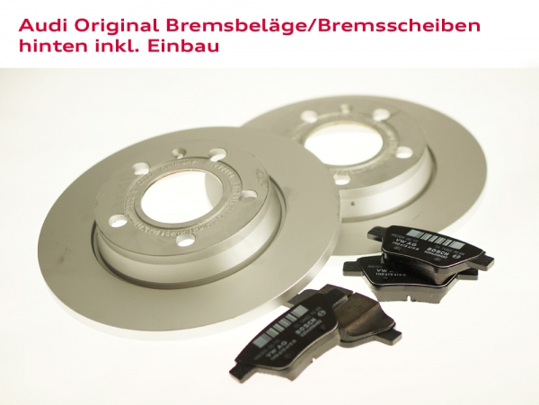 Audi Original Bremsbeläge und Bremsscheiben hinten inkl. Einbau Audi A4 (8E)