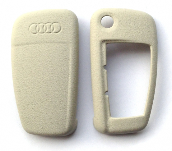 Audi Leder Schlüsselblende Perlsilber