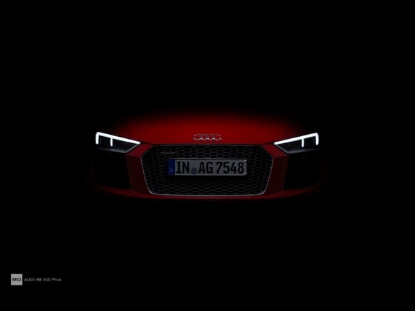 "Audi R8 V10+ Wandbild auf gebürstetem Aluminium ""Blick"""