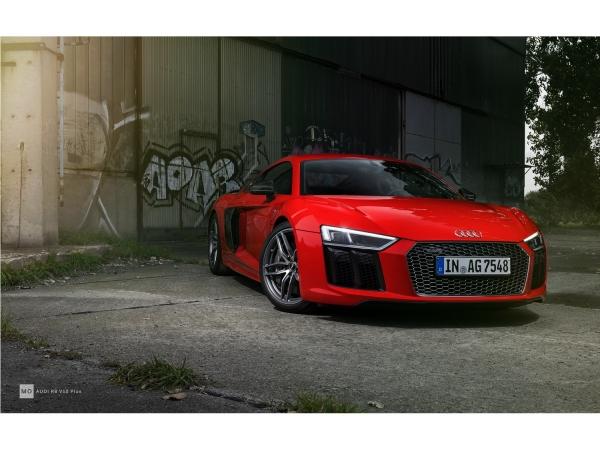 "Audi R8 V10+ Wandbild auf gebürstetem Aluminium ""Urban"""