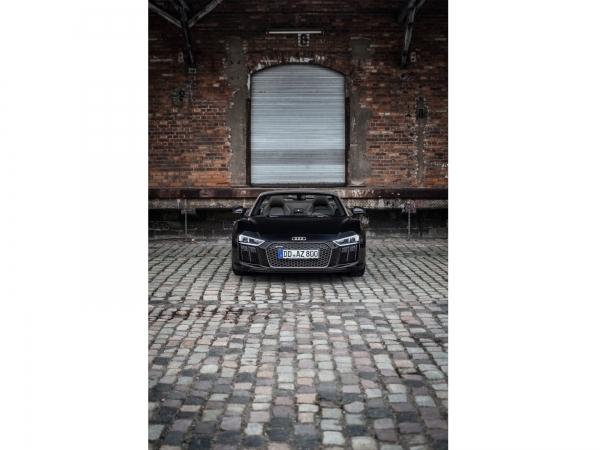 "Audi R8 Spyder Wandbild auf gebürstetem Aluminium ""Front"""