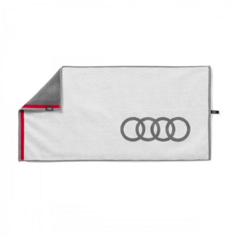 Audi Handtuch, 50x100cm, weiß/grau